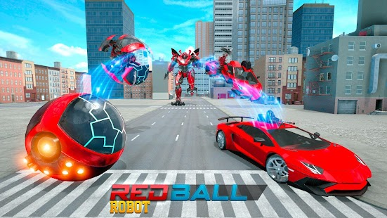 Red Ball Robot Car Transform: Flying Car Games