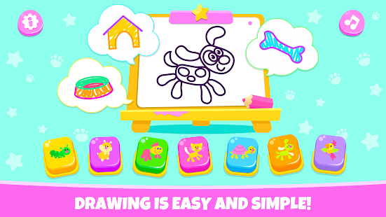 Pets Drawing for Kids and Toddlers games Preschool for pc
