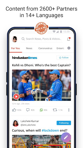 Dailyhunt - 100% Indian App for News & Videos 17.0.6 Screenshots 1
