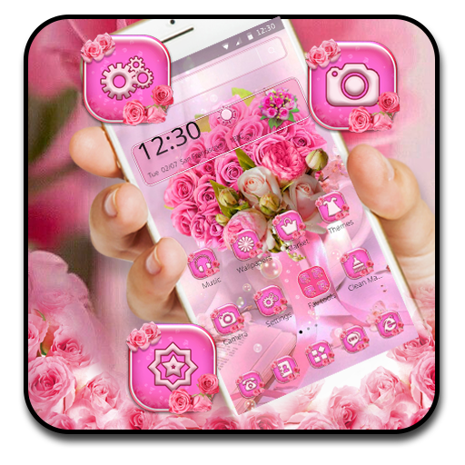 Glossy Pink Roses Launcher Theme