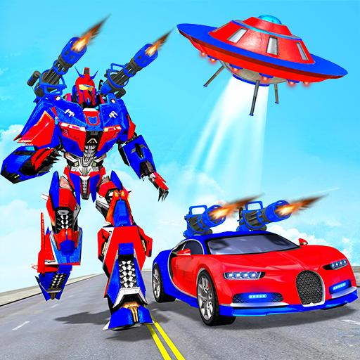 Flying Robot Car Games - Robot Shooting Games 2021