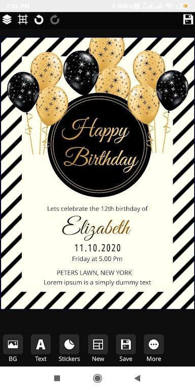 Invitation maker 2020 Birthday & Wedding card Free  poster 4