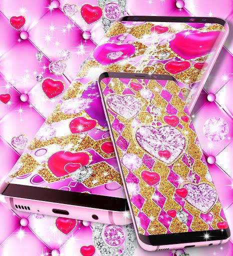 Golden luxury diamond hearts live wallpaper apktram screenshots 7