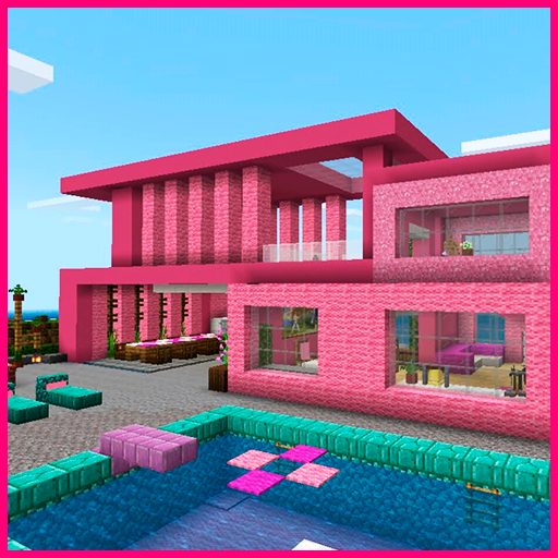 Pink house with furniture. Craft maps and mods