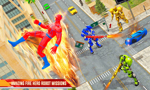 Flying Police Robot Fire Hero: Gangster Crime City apkslow screenshots 4
