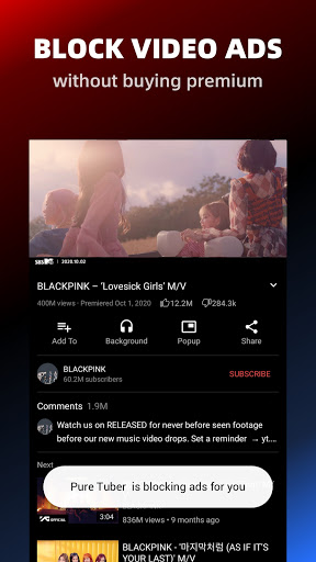 Pure Tuber - Block Ads for Video, Free Premium screen 1