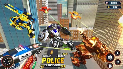 Flying Grand Police Car Transform Robot Games  Screenshots 14