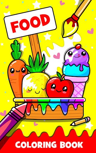Fruits Coloring book & Food Drawing book Kids Free screenshots 1