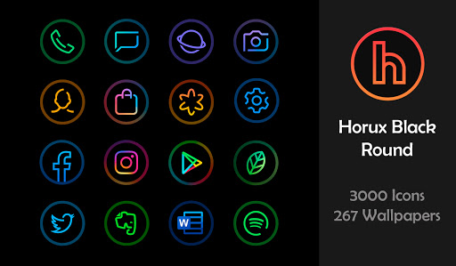 Download APK: Horux Black – Round Icon Pack v3.6 [Patched]