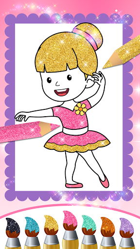Glitter Dress Coloring Pages for Girls  Screenshots 7