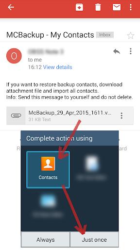 MCBackup - My Contacts Backup 2.1.6 Screenshots 3