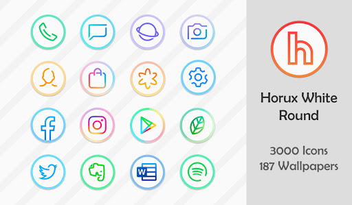 Download APK: Horux White – Round Icon Pack v3.4 [Patched]