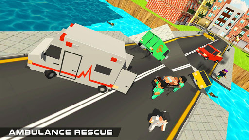 Blocky US Fire Truck & Army Ambulance Rescue Game apkmr screenshots 5