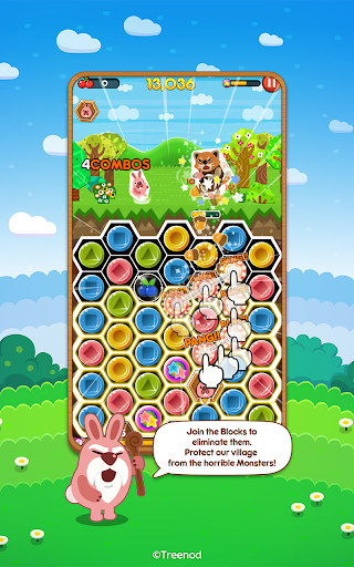 LINE Pokopang - POKOTA's puzzle swiping game! screenshots 1