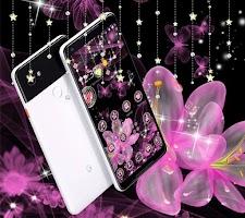 Pink Neon Flower Glitter Bling Theme