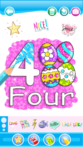 Glitter Number and letters coloring Book for kids 3.8 Screenshots 1