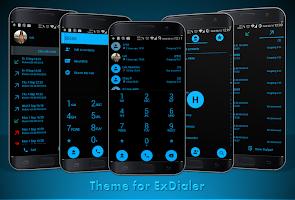 Dialer theme Flat Black Blue for Drupe or ExDialer