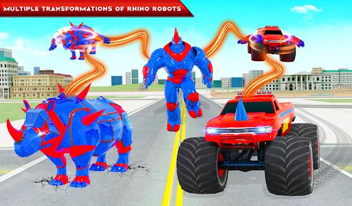 Rhino Robot Monster Truck Transform Robot Games  screenshots 10