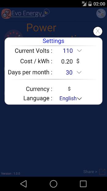 Screenshot 5 de EvoEnergy - Electricity Cost Calculator Free para android