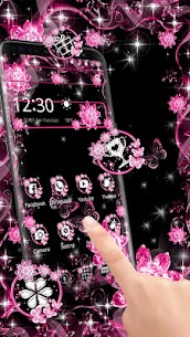 Pink Black Flowers Theme For Pc | How To Install  (Free Download Windows & Mac) 1