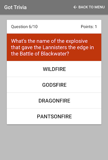 trivia for game of thrones screenshot 1