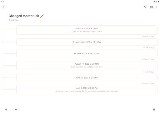 TimeJot - Event timeline and last time logger