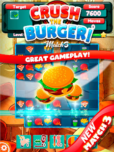 Crush The Burger ! Deluxe Match 3 Game
