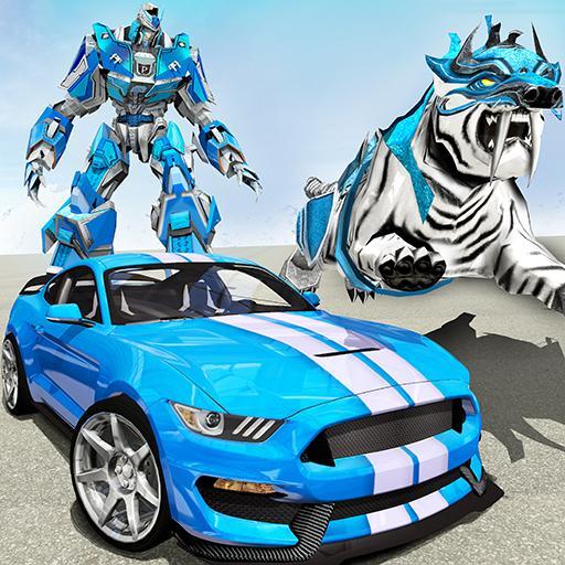 US Police Transform Robot Car White Tiger Game APK
