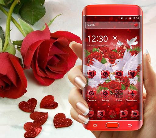 Red Rose Pigeon Heart Theme screenshots 1