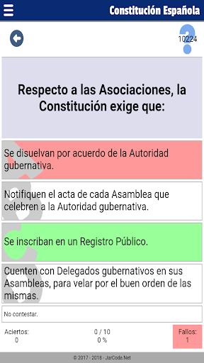 Tests oposiciu00f3n constituciu00f3n Espau00f1ola apktram screenshots 4
