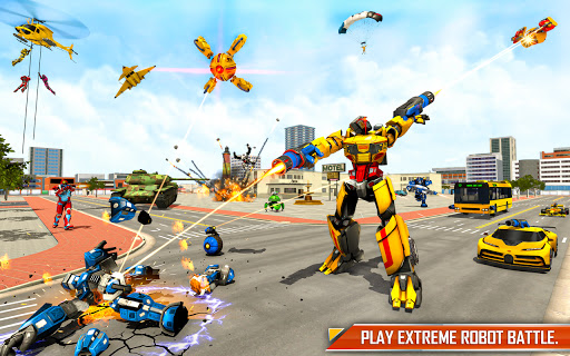 Bus Robot Car Transform: Flying Air Jet Robot Game apktram screenshots 1