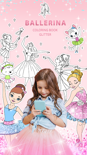 Ballerina Coloring Book Glitter - Girl Games  screenshots 1