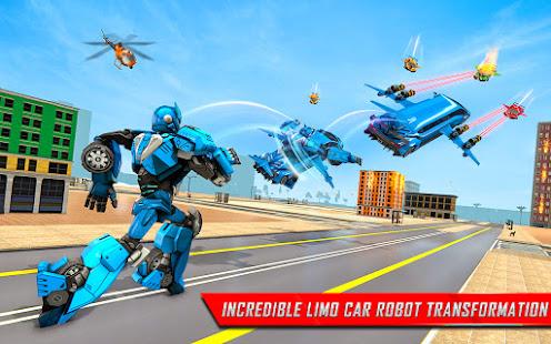 Flying Limo Robot Car Transform: Police Robot Game 1.0.32 Screenshots 11