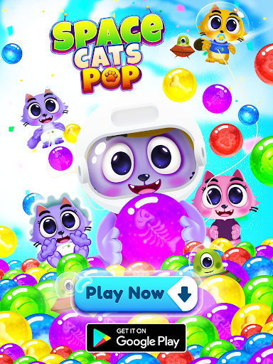 Space Cats Pop - Kitty Bubble Pop Games apkmr screenshots 16