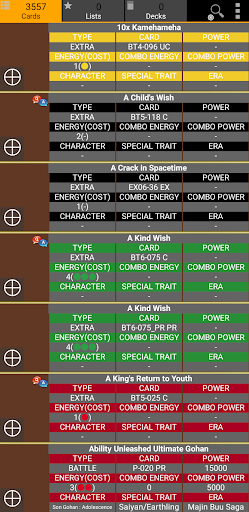 Database for Super Ball Dragon TCG 1.75 screenshots 1