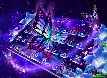 Lively Neon Butterfly Keyboard