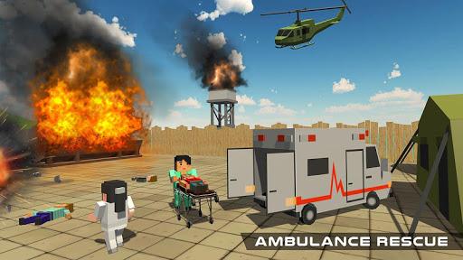 Blocky US Fire Truck & Army Ambulance Rescue Game 1.0.5 screenshots 1