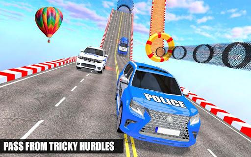 Police Spooky Jeep Stunt Game: Mega Ramp 3D apkpoly screenshots 21