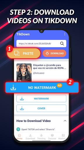 Video Downloader for TikTok No Watermark - TikDown android2mod screenshots 2