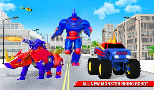 Rhino Robot Monster Truck Transform Robot Games  screenshots 13