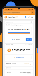 Crypto Tab Browser Pro—Mine on a PRO level 1