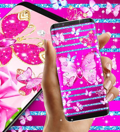 Diamond butterfly pink live wallpaper apktram screenshots 5