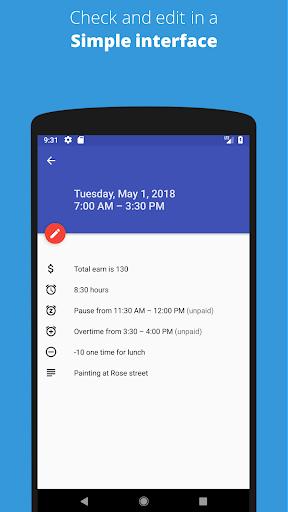 Timesheet - Track Time Hours and Salary Timecard  screenshots 2