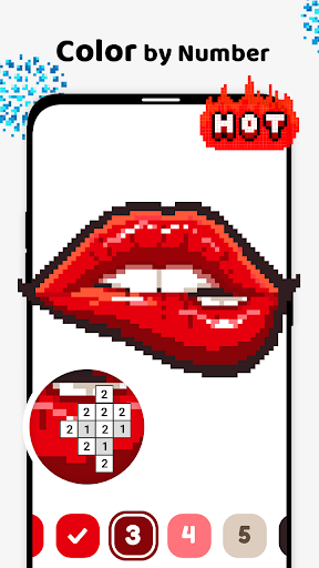 Pix123 - Color by Number, Pixel Art Relaxing Paint modavailable screenshots 1