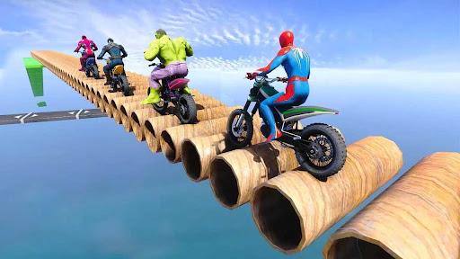 Superhero Tricky Bike Stunt GT Racing  screenshots 2