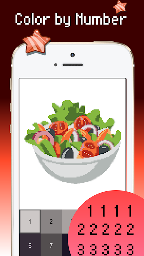 Food color by number : Pixel art coloring 1.5 screenshots 4