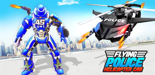 Screenshot of Flying Police Helicopter Car Transform Robot Games