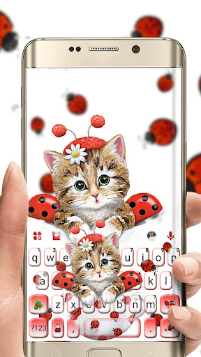cute ladybird kitten keyboard theme screenshot 1