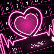 Neon Pink Love Heart Keyboard