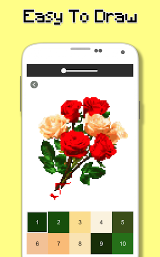 rose flowers coloring book, color by number pixel screenshot 2